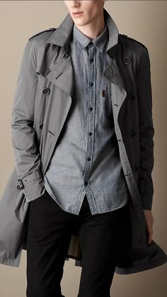 Men's Fashion: Burberry Brit Mid-Length Lightweight Trench Coat #grey #coat