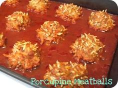 Recipe: Porcupine Meatballs - Everything Mommyhood A bit different from my famil. Ground Beef Recipes, Pork Recipes, Cooking Recipes, Meatball Recipes, Hamburger Recipes, Microwave Recipes, Meatball Appetizers, Hamburger Dishes, Kitchens