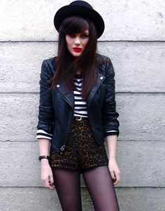 from the red lips, leopard print, high waisted shorts, to the stripes, leather, and black hat.... what's not to love?