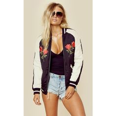 Capulet Marfa Souvenir Jacket ($238) ❤ liked on Polyvore featuring outerwear, jackets, black, floral print jacket, flower print jacket, floral jacket, embroidered jacket and bomber jacket