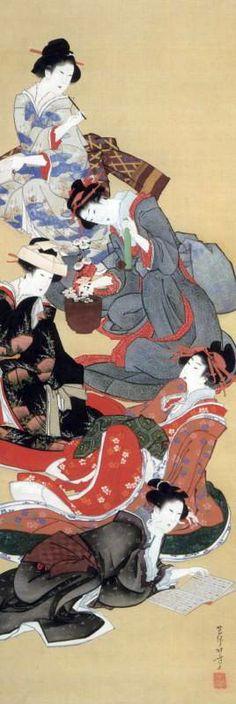 "Five Beautiful Women by Katsushika Hokusai, 1804-18. Hanging scroll, ink and colour on silk, 71 x 18 1/4"" (180.3 x 46.4 cm) | Seattle Art Museum"