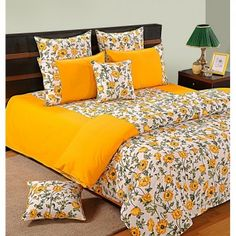 Yellow Flowers Fitted Bed Sheet, Shades of Paradise- 3701