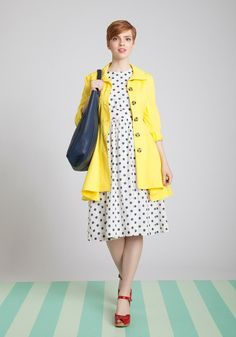 Add a sunny touch to your work wardrobe with this sunny jacket! #dress #polkadots