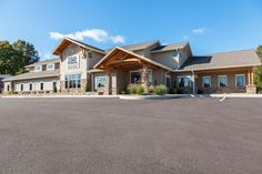 Stone accents and exposed timber frame | Hospital Design