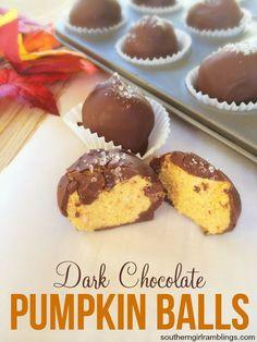 These dark chocolate pumpkin balls are a delicious fall recipe! Perfect as a dessert!