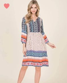 Bright colors and boho patterns make this comfortable dress a real stand-out! Very forgiving with it's loose-fitting design, pairs well with all types of shoes or boots.) ___ Viscose, upper arm area may fit a bit snug Secret Sale, Types Of Shoes, Pattern Making, Bright Colors, Phoenix, Snug, Arm, Boutique, Boho