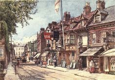 Middlesex 1907 High St Twickenham Canvas Art - John Fulleylove x Old London, London Art, London Plays, London Painting, Richmond Upon Thames, Surrey, Old Houses, Scenery, Canvas Art