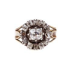 Georgian Old Mine Cut Diamond Cluster Ring
