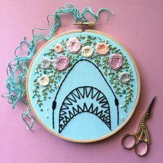 "Floral shark attack hand embroidery art. Light blue fabric. 6"" hoop. Home decor"
