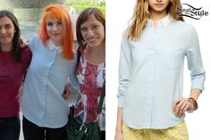 Hayley Williams: Contrast Collar Button-Up Hayley Williams Style, Contrast Collar, Paramore, Carolina Herrera, Poplin, Her Style, Celebrity Style, Cute Outfits, Celebs