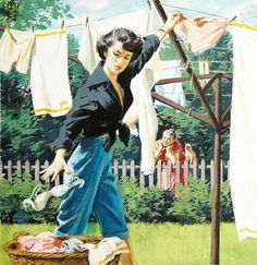 I assume this an illustration for a short story. I'm dying to figure out what that story is! Vintage et cancrelats: Arthur Sarnoff Images Vintage, Art Vintage, Retro Art, Vintage Pictures, Vintage Ads, Pin Up, Vintage Housewife, Vintage Laundry, Arte Pop