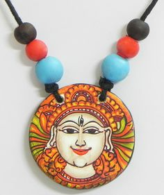 Pendant with Mural Painting of Shiva (Terracotta))