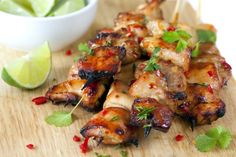 Key West Grilled Chicken- 3 T soy sauce; 2 T honey; 1 T vegetable oil; Juice of 1 Lime;  1 tsp minced garlic;  4 skinless, boneless chicken breast halves or cubed; cilantro-optional.