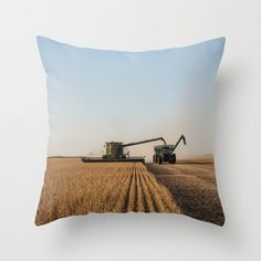 16x16 Autumn Harvest Pillow Cover, Rustic Country Throw Cushion Case, Gift for Farmer, Combine Art Decor, Tractor Grain Wagon
