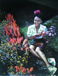 """Pretty Lady with fabulous shoes and a gorgeous smile. Pretty flowers. What's not to love? Found while creeping on Pinterest for 40s fashions. """"Singer Hazel Scott in the finest and floweriest 40s fashion."""" Maybe time to start music searches?"""