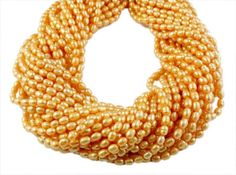 5 Strands Genuine Yellow Freshwater Pearls Rice Shape Tiny Pearl Pearlized Beads #luctsa #Smooth