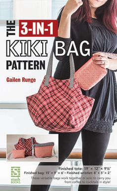 Sew a tempting trio of bags that works well together or separately—great for shopping trips, a weekend getaway, or date-night essentials! Cut into your favorite fabrics for this 3-in-1 tote bag pattern, purse pattern, and wristlet pattern. Keep your contents secure with a magnetic closure, pockets, and swivel hooks to clip the purse in place within the bucket bag. Full-size patterns are included.