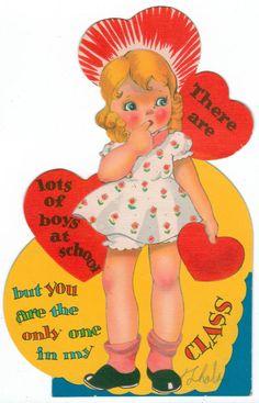 Blonde Girl Flat School Valentine