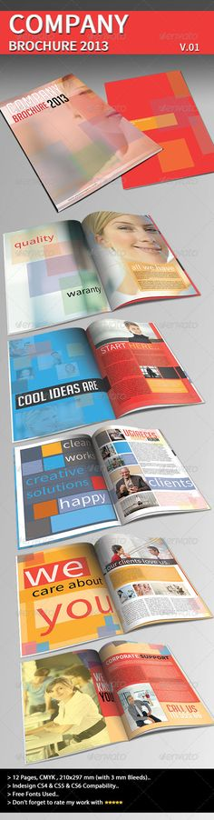Company Brochure 2013 Part 01  #GraphicRiver        DescriptionModern corporate company information template for all companies that needs this style..Summary 210×297 mm  300 dpi   12 pages   CMYK   3mm bleeds Files Included InDesign CS6,CS5 and CS4 files.. A preview pdf and a help pdf.. Fonts Used You can find information in help file.. Live preview: Here Original photos are used only to show a preview of how the brochure can look alike, they are not included in the download.  Glad to work…