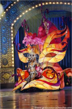 """Carnival Queen Contest in Las Palmas de Gran Canaria, Canary Islands, Spain, on Feb. 1st 2013. Paula Miranda, wore a dress with huge masks, called """"Enigma."""""""