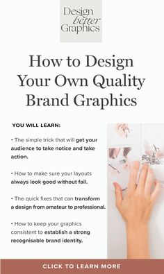 Learn how to design brand graphics that get your audience to take notice, how to make your layouts look good without fail, how to quickly transform a graphic from amateur to professional and how to establish a strong and consistent brand identity.