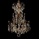 Stockholms Auktionsverk Online 533259. LJUSKRONA, rokokostil, 1900-talets början, för 6 ljus, stomme i mässing behängd med olikslipade prismor, höjd 75