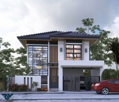 Two Story House Design, 2 Storey House Design, House Front Design, Modern House Design, Two Storey House Plans, New House Plans, Small Contemporary House Plans, Mediterranean Homes Exterior, Modern House Facades