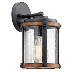Shop Kichler Lighting Barrington 10.04-in H Distressed Black and Wood Outdoor Wall Light at Lowes.com