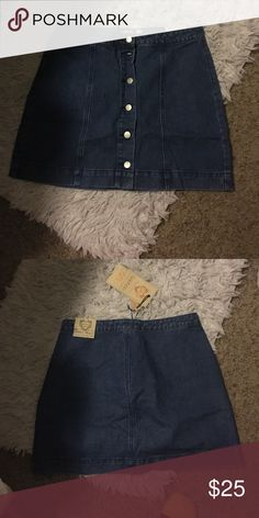 Button down A-line skirt Never been worn. Just received in the mail and is too big on me. Denim Boohoo Skirts A-Line or Full
