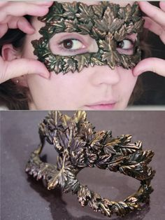 """DIY Leaf Masquerade Mask Video Tutorial from Klaire de Lys.This amazing mask is made from glue (glue gun) using a silicon leaf mold for the leaves. If you don't have a face cast to use as a guide, Klaire writes:""""I realise that a face cast isn't. Mask Video, Diy Sheet Mask, Glue Gun Crafts, Diy Glue, Masquerade Party, Masquerade Masks, Cosplay Diy, Cosplay Outfits, Costume Makeup"""
