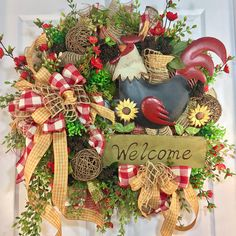 Red and Gold Greenery Summer and Fall Rooster Mesh Door Wreath