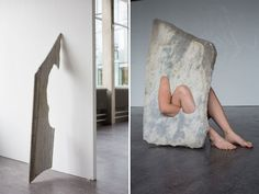 Carved out areas in the stone allow it to create an interaction of her own body with the material.