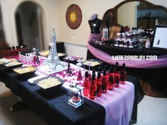 graduation party ideas paris theme | The main table. First we had the food displayed.
