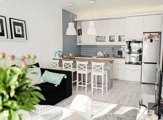 Inwestycja na Wilanowie - Średnia otwarta kuchnia jednorzędowa w aneksie, styl skandynawski - zdjęcie od KRUBA DESIGN