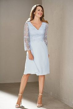 Wedding Dresses Ball Gown, Modest Lace & Chiffon V-neck Neckline Illusion Sleeves Knee-length A-line Mother Of The Bride Dresses MagBridal Mob Dresses, Event Dresses, Dresses With Sleeves, Bride Dresses, Lace Sleeves, Short Dresses, Mother Of Groom Dresses, Mothers Dresses, Mother Of The Bride