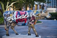 Thriller Cow, a piece in CowParade by Greg Miller, Austin, Texas, July 2011. CowParade is considered to be the largest and most recognized public art event in the world, about 100 cows painted by local artists went on display throughout Austin. This cow is decorated with images of Michael Jackson from his Thriller video. Austin businessman and philanthropist, Milton Verret, bought the jacket at auction to raise funds for charities.  Photo of Thriller Cow by Steve Hopson, via Flickr