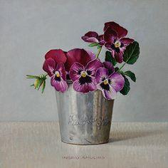 Donkerrode viooltjes in tinnen bekertje 2014 (15 x 15 cm)