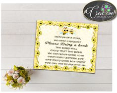 Baby Shower Yellow Shower Bee Theme Card Smart Baby BRING A BOOK, Party Plan, Prints, Instant Download - bee01 #babyshowergames #babyshower
