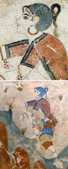 Minoan wall Fresco of  The Saffron Gatherers (detail) 1650 BC - Akrotiri, Santorini Island