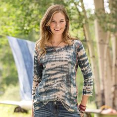 "SONGBIRDS PULLOVER -- Hand stitched details take flight in this easy-fitting pullover, inspiring thoughts of songbird speckled skies and gentle breezes. Ramie/cotton. Hand wash. Imported. Exclusive. Sizes XS (2), S (4 to 6), M (8 to 10), L (12 to 14), XL (16). Approx. 25-1/2""L."