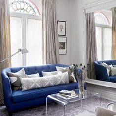 Blue sofa and stained glass window |  Small Living Room | Decorating Ideas | Interiors | redonline.co.uk