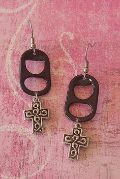 Black with Cross Pop Tab Earrings by Cheryl's Art Box, via Flickr