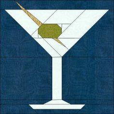 Martini paper piecing #quilt block pattern