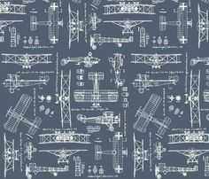 WW1 Slate/Cream fabric by savannahlindsay for sale on Spoonflower - custom fabric, wallpaper and wall decals