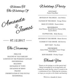 Printable Wedding Program Template Instant by PrintableMoment Printable Wedding Programs, Wedding Ceremony Programs, Young Toddler Activities, Wedding Playlist, Tea Length Wedding, Program Template, Font Styles, Cursive, Wedding Decor