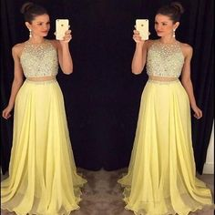 Light Yellow Two Pieces Prom Dresses 2016 Sexy A Line Crew Beaded Crystals Pleats Sweep Train Formal Chiffon Evening Gowns