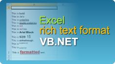 Rich text format for Excel cells in VB. Coding, Tutorials, Programming, Wizards, Teaching