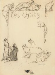 Théophile Alexandre Steinlen (1859-1923)   Les chats   signed 'Steinlen' (lower right)   black chalk on paper   14 7/8 x 11 1/8 in. (38.5 x 28.1 cm.)  Private Collection
