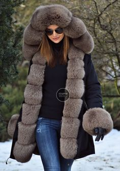 AMERICAN PARKA WITH FUR - military parka coat with hood 2017 - furs outlet