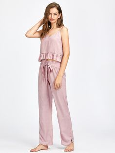 Frill Trim Striped Cami And Belted Pants Pajama Set -SheIn(Sheinside) Pajamas For Teens, Cute Pajamas, Silk Pajamas, Comfy Pajamas, Pyjamas, Satin Pyjama Set, Pajama Set, Pijamas Women, Purple Lingerie